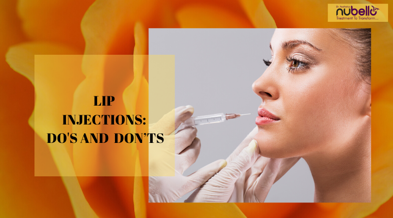 Lip treatment with lip injection